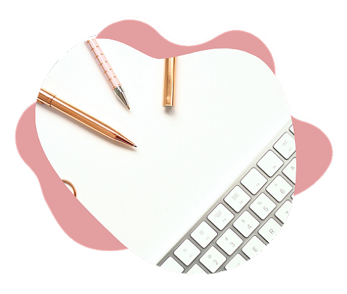 Pens and keyboard