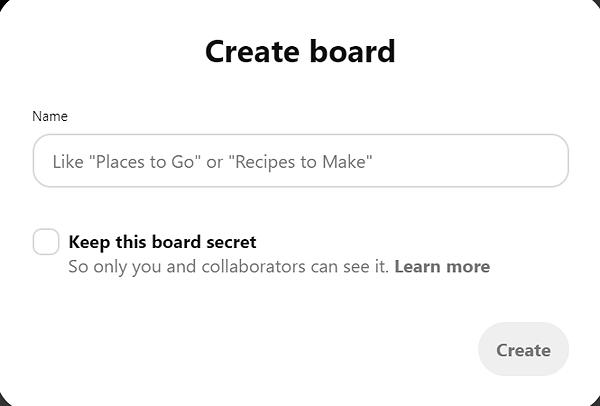 Pinterest create a board